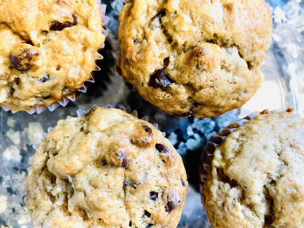 Healthy Chocolate chip banana muffins